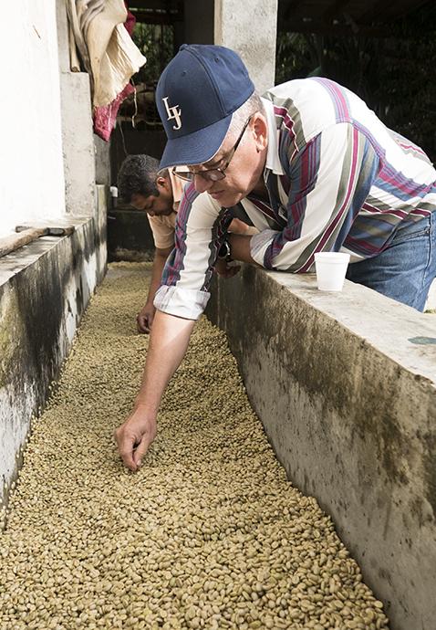 Luis Joaquín Lovo examining his coffee
