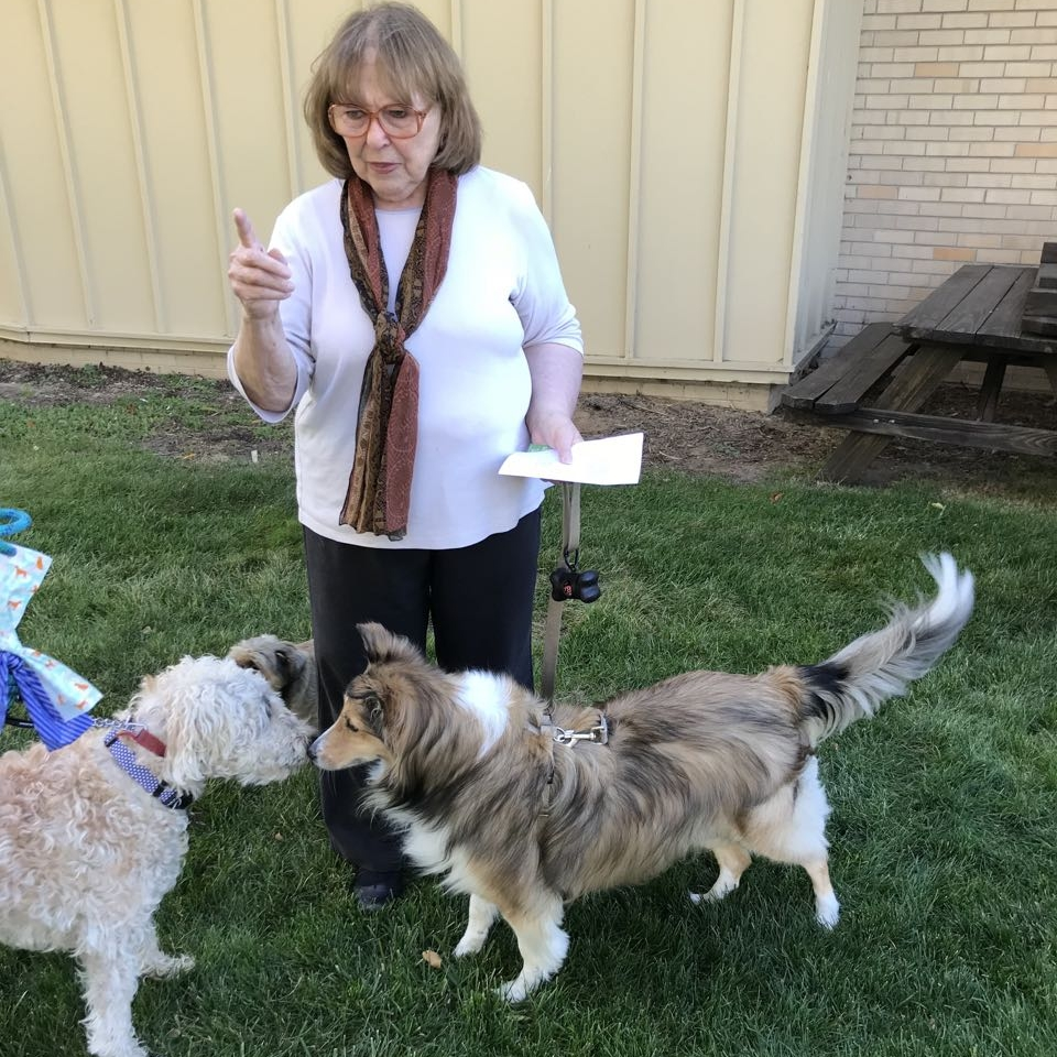 Gretchen Timmer, Maddie and Cash at pet blessing 2017.jpg