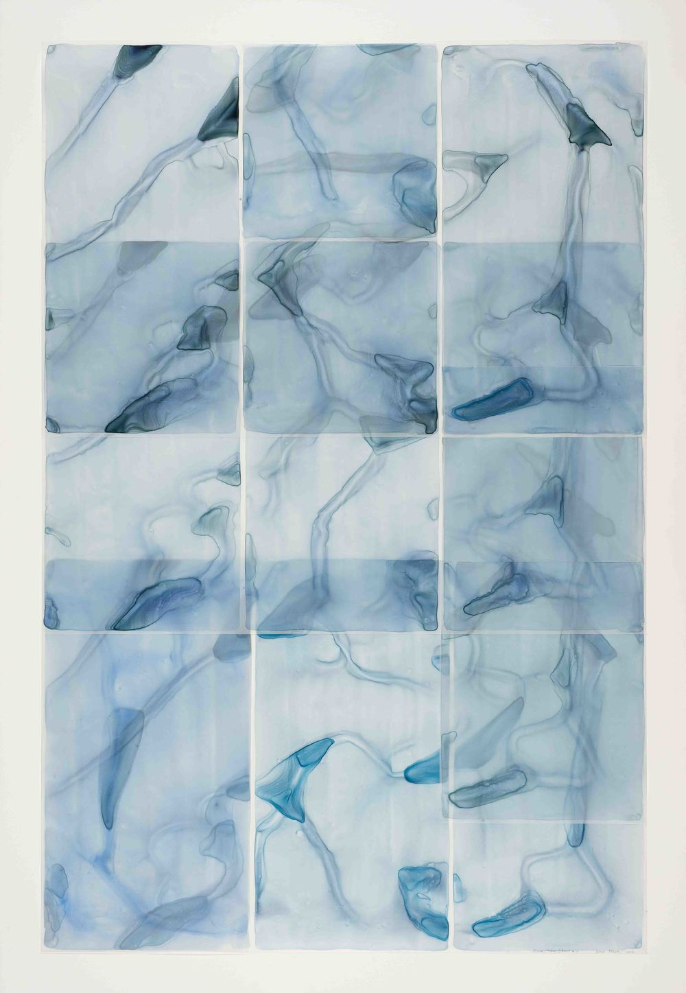 "River:Flow:Chart #7 , watercolor on translucent synthetic paper, 59""x41"""