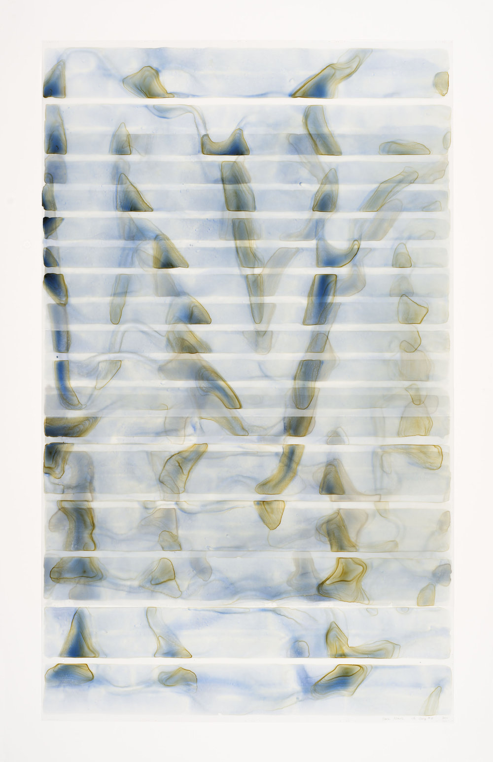 "Dara Mark Chi Gong #8, watercolor on translucent synthetic paper, 60""x35"""