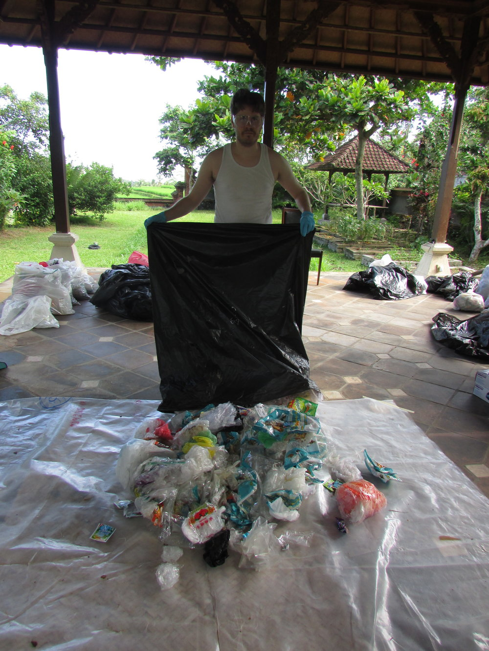 A pic of me sorting plastic waste during the Bali Ecological project
