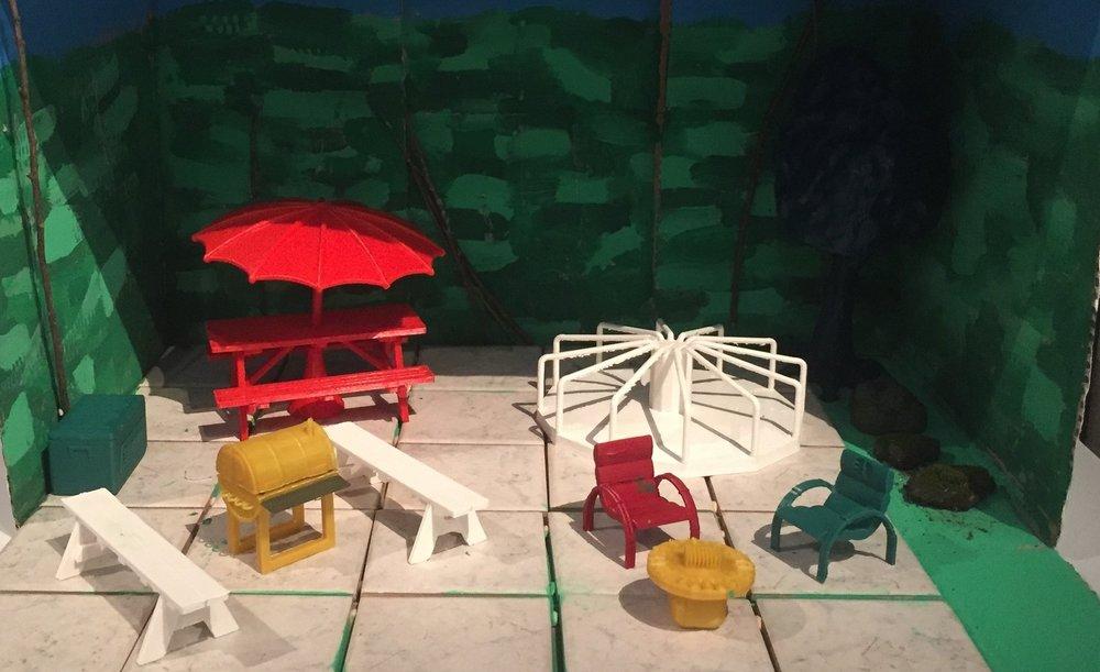 Kivenlahden tulevan metroaseman ympäristön suunnittelua. Meritorin koulun 4. luokkalaisten suunnitelman 3d-tulostettu pienoismalli.
