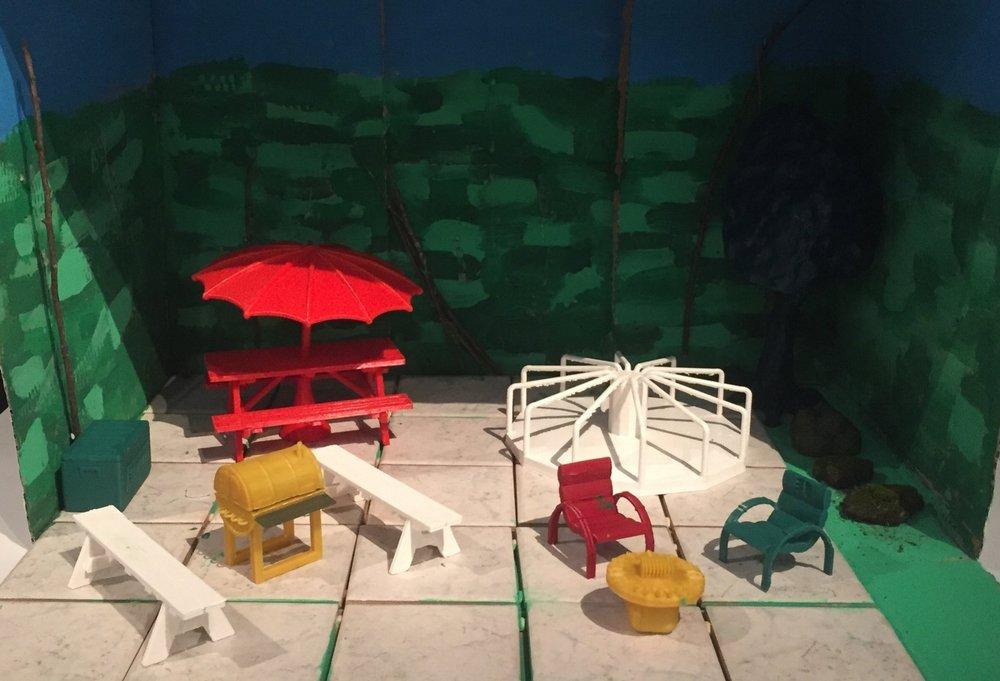 Planering av miljön vid den kommande metrostationen i Stensvik. Den 3D-utskrivna miniatyrmodell som eleverna i Meritorin koulu har gjort.