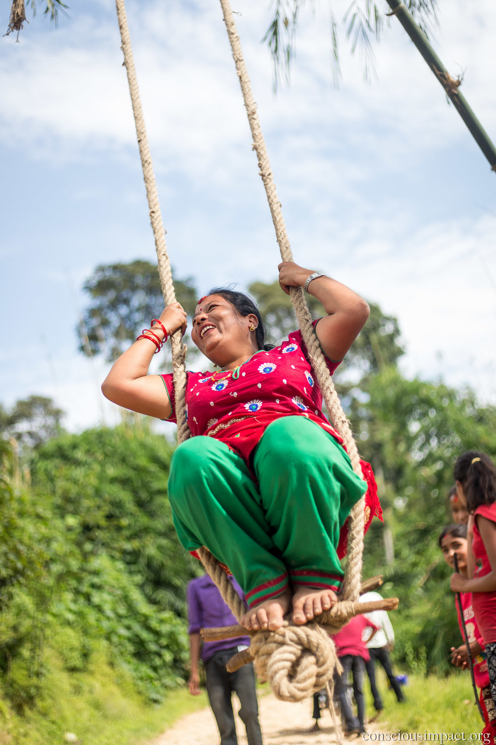 Bamboo swings are built throughout villages in Nepal, and they're not just for children! Swinging during Dashain is meant to lift spirits and rejuvenate energy.