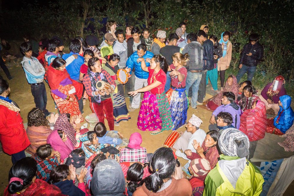 Bahilo and Deusi are the performances of traditional song and dance as girls and boys go house to house. Children are given treats, but everyone enjoys the music and dancing. We were very happy to host such a large crowd at our camp for this joyous celebration!