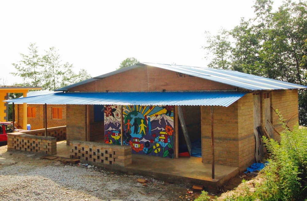 The Nawalpur Youth & Community center - complete with a mural painted by Laurie Tobia and a team of volunteers.
