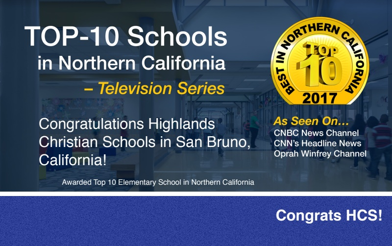 Only one Elementary School was selected as the Top School in Northern California and will be featured on the television series…..and that's us!
