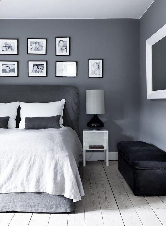 Grey and black bedroom decor