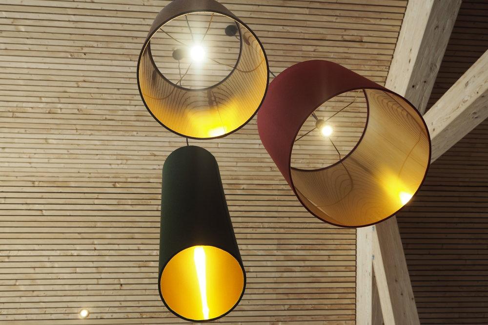 Light fittings at the Granatalm Restaurant in Austria.