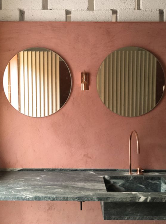 Terracotta colour for interior design colour inspiration, bathroom at the Pazuzu Beach Club in Corfu. Camilla Pearl Colour and Style inspiration for home interiors and fashion with a granny chic vibe.