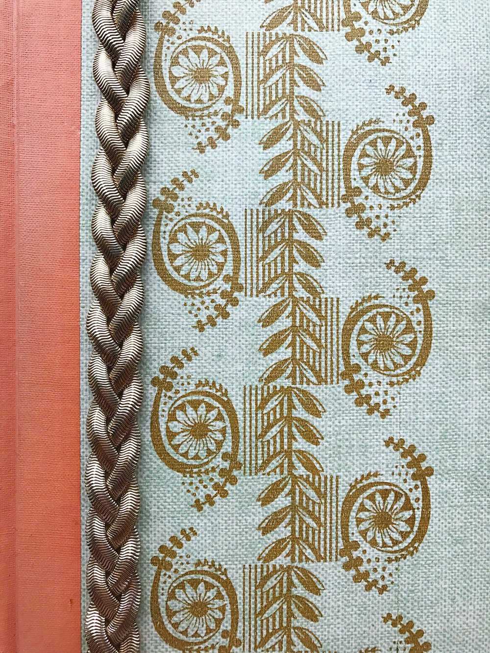 Camilla Pearl terracotta colour inspiration - an old antique book and the gold colour go really nicely together.