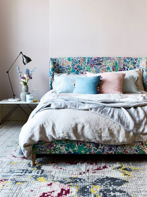 House Beautiful article on spring and summer florals in interiors.