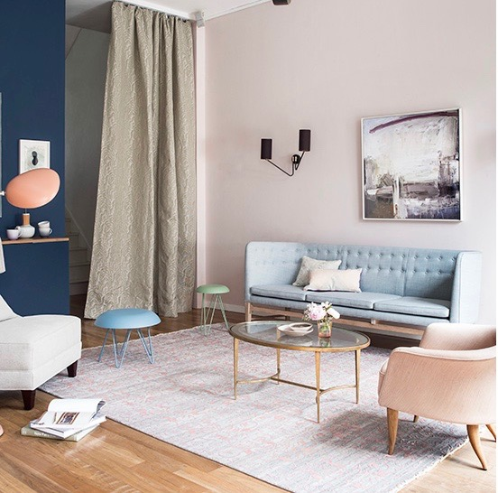 Pink and Blue Interiors inspiration, image via Living Beautifully blog.