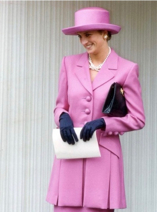 Princess Diana in Pink and blue outfit