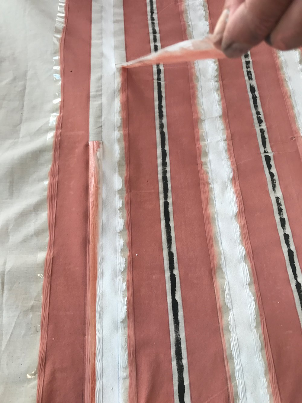 Easy steps to create a stripe print fabric using Annie Sloan chalk paint by Camilla pearl.jpg