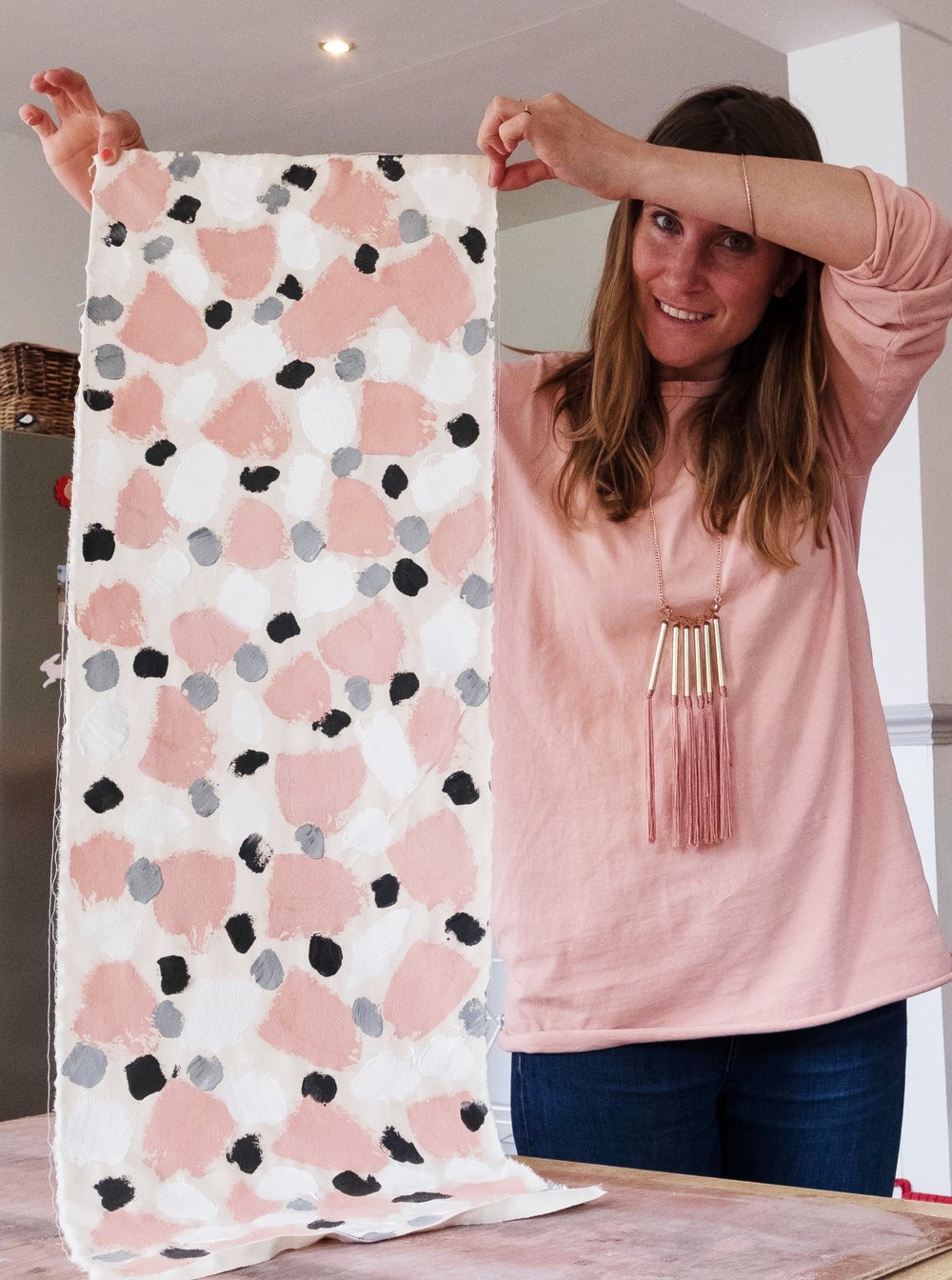 Anna at Camilla Pearl using Annie Sloan paint for a fabric project.JPG