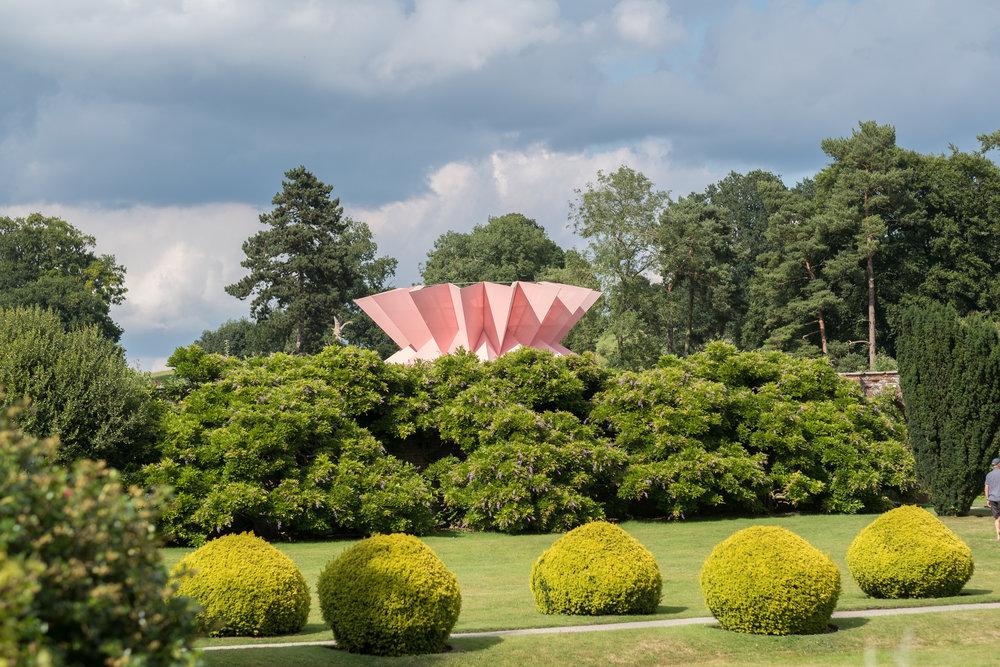 Things to do in Herefordshire UK, visit Berrington Hall with it's amazing giant pink pineapple installation, open until December 2019.