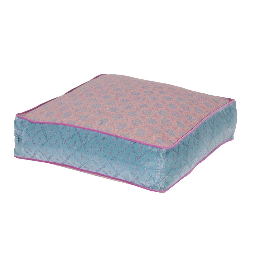 Pink and Blue cushion perfect to go with grey or beige and taupe interiors.