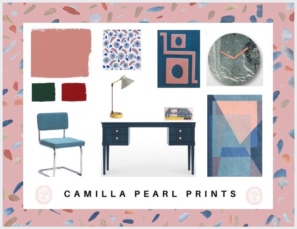 Camilla Pearl office mood board for interior design project.