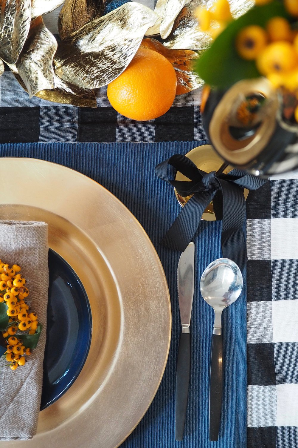 Blue and Black tablescape for Christmas.jpg