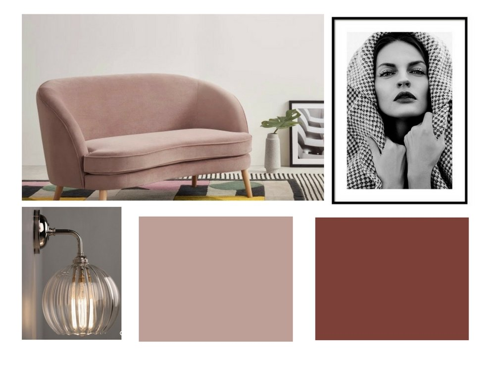 Mood board based on commercial interior design spaces for use in your own home decor projects.