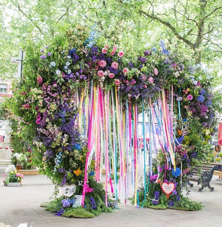 All for Love London designer and florist, installation in Sloane Square for Chelsea in Bloom 2018