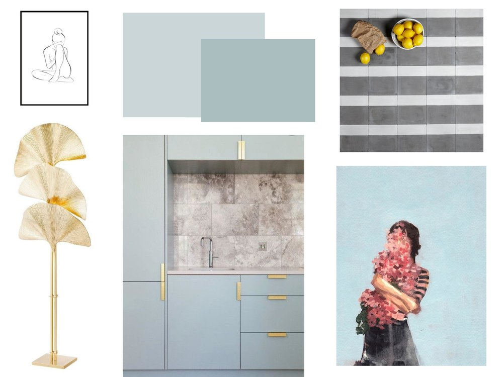 House Anna blue interiors mood board for summer Farrow and Ball Parma Grey