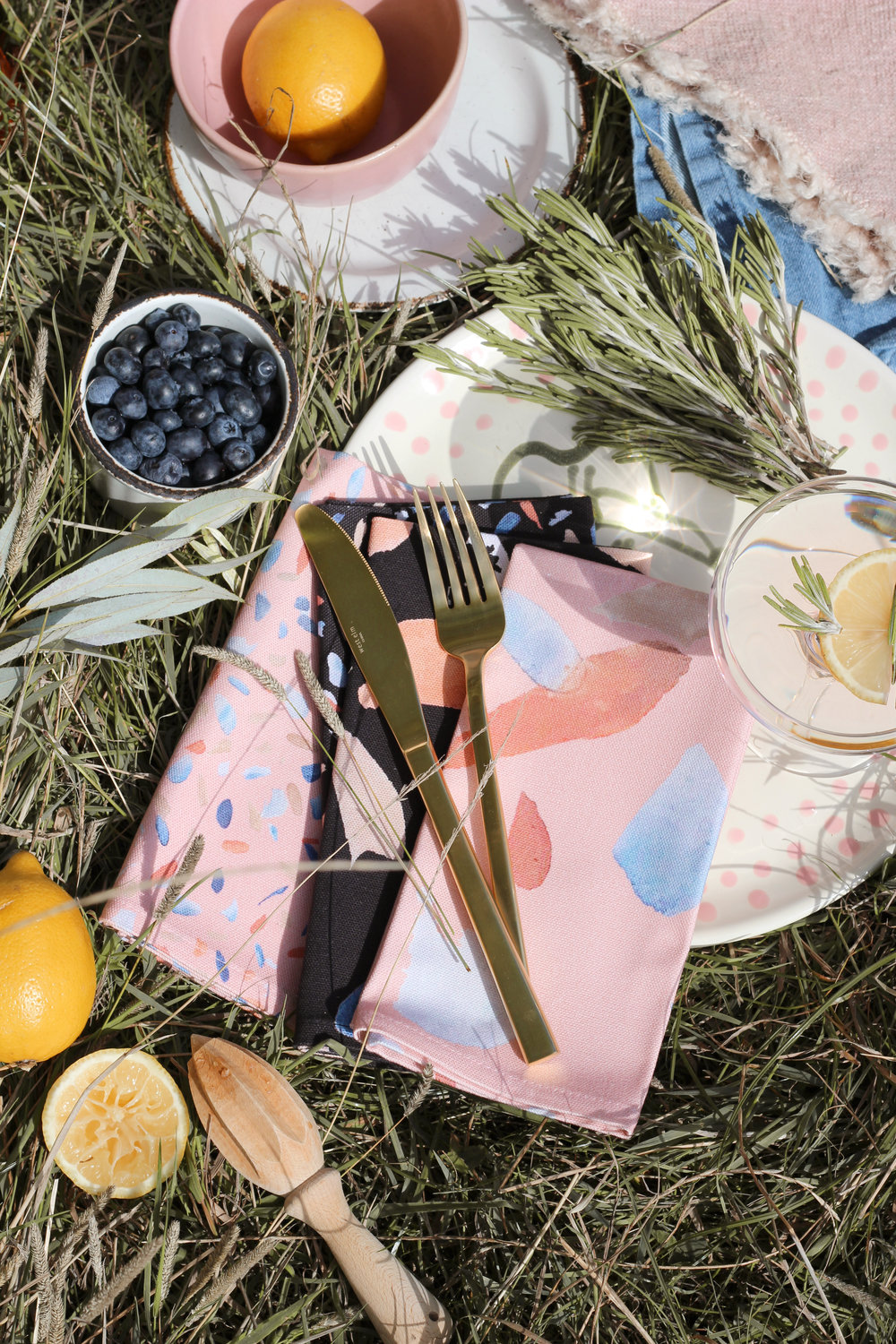 Summer picnic accessories, pink and black picnic style by British homeware brand House Anna