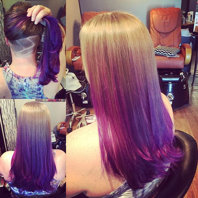 Unicorn hair complete! #pravanavivids #pravanaviolet #wildorchid #rainbowhair #undercutgirls