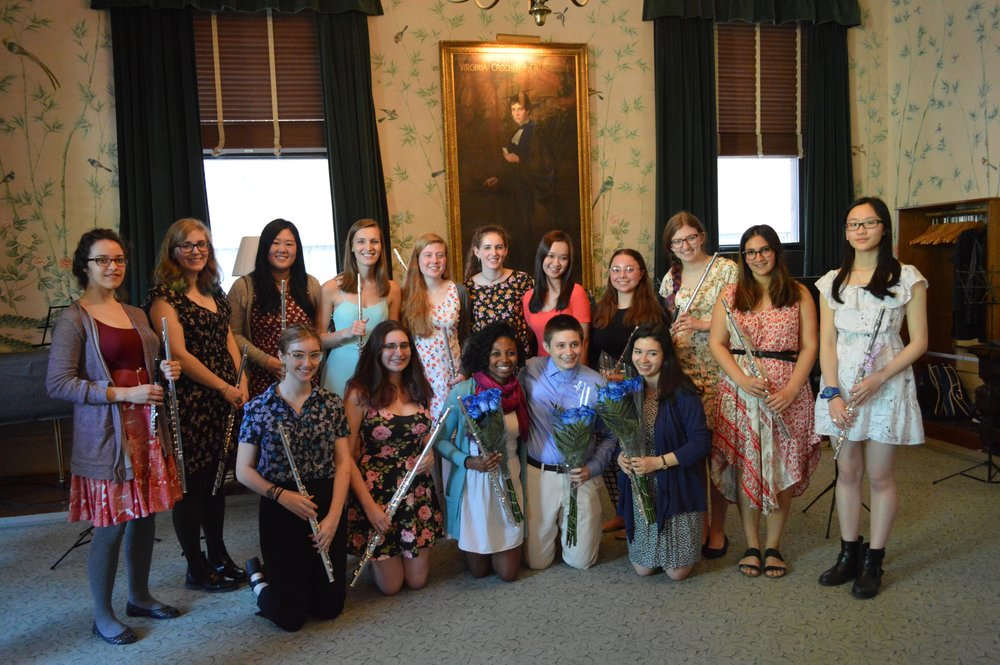 Barnard Flute Choir after our end of the year concert in Sulzberger Parlor