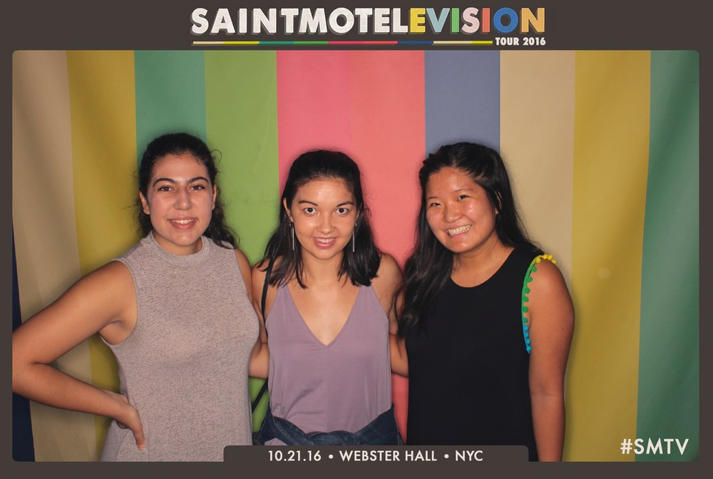 Kris (far right) with some Barnard pals at Webster Hall attending a Saint Motel concert.