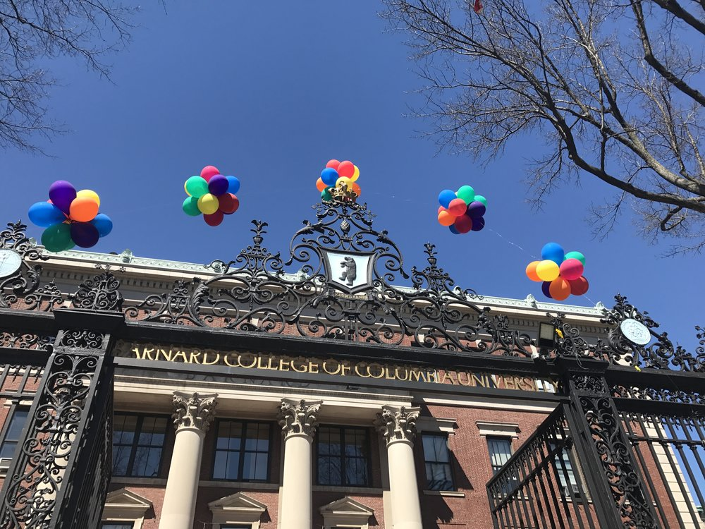 During Open House weekend, colorful balloons welcome students over the Barnard Gates!
