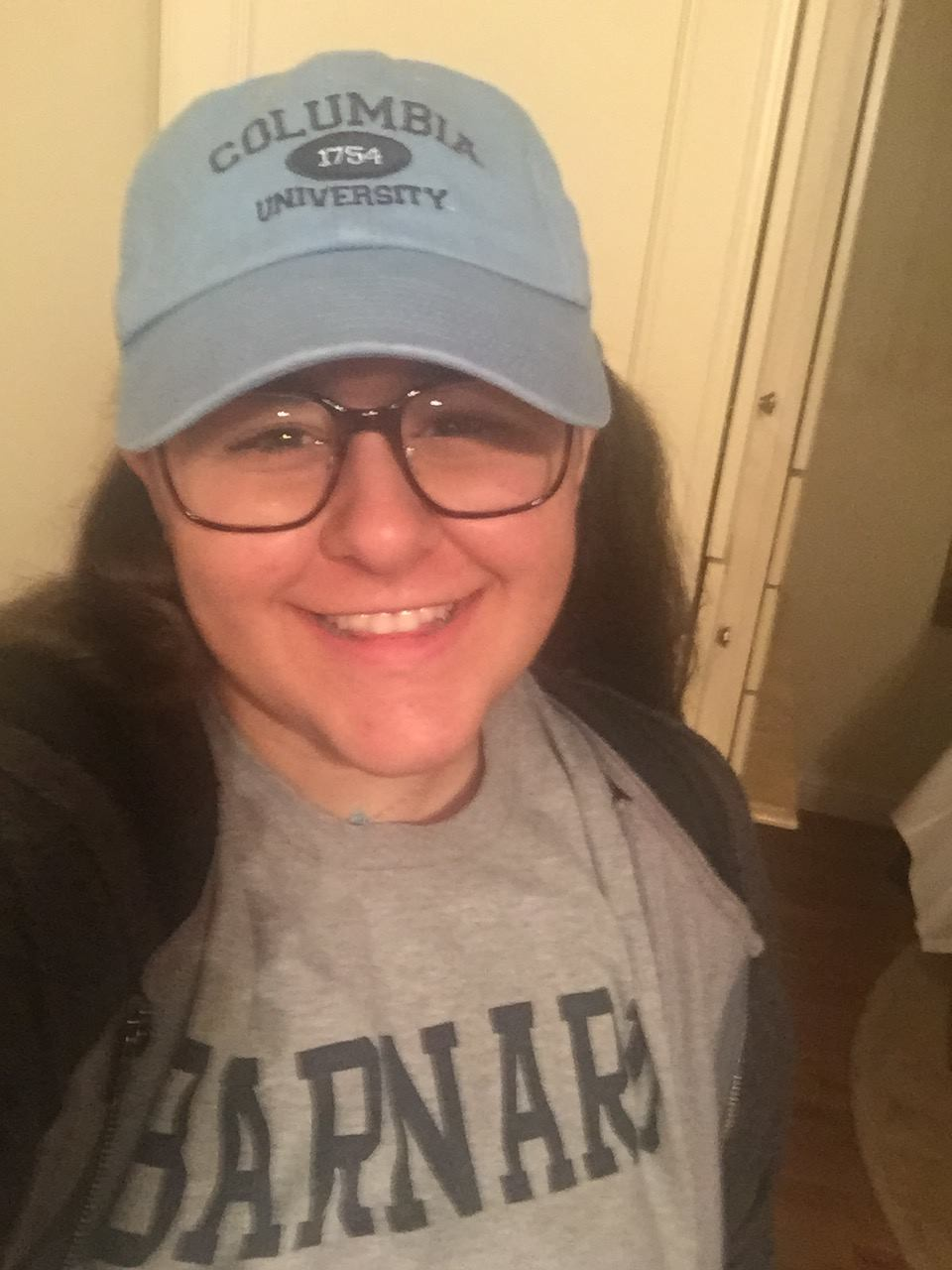 Actual photo of me the day after I was accepted wearing all of my Barnumbia gear to school because I was so excited. Not pictured: my Millie the Dancing Bear socks, I highly recommend that you get a pair if you can.