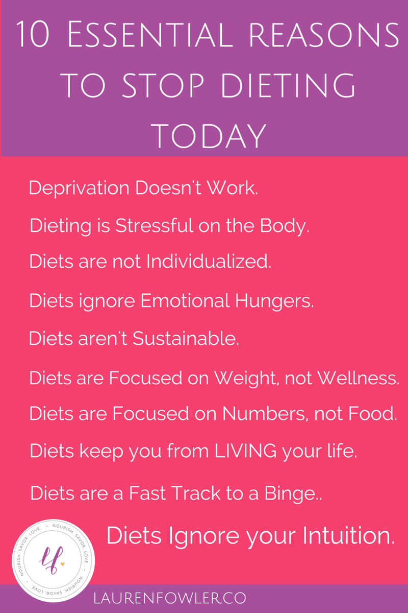 10 Essential Reasons to Stop Dieting Today