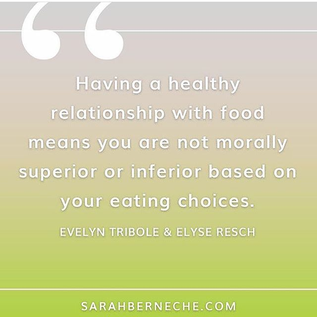 "This is why our language around food matters. If you label foods as good or bad (or clean, dirty, unhealthy, whatever...), you can internalize that to feel superior, inferior, guilt, or shame based on their choices. Food doesn't have the power to determine your worth. * So many people use fear based, confusing language around food, such as ""toxins,"" or ""healing."" If I see that, I want to know what these toxins are or what is 'healing' about that food. Yet, many people don't question it and fall prey to these claims that eating a certain way will heal or cure all their ailments or lead to new super body. * We need to use neutral, non-judgmental language around food and evidence-based nutrition (and luckily, there's lots of research on intuitive eating!) For more on this, check out my blog post (link in bio). * Image via @sarahbnutrition"