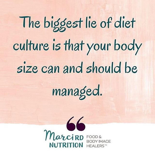 """One of the terms I get frustrated with the most is: """"weight management."""" . One, biologically, your body size cannot be controlled. The majority of people who go on diets end up regaining any lost weight within a few years. . Two, diet culture teaches us that there's an """"acceptable"""" body size that we need to achieve. . We need to focus on accepting ALL bodies instead of trying to change people's bodies when there's no research that doing so is sustainable or supportive of health. . Let's stop trying to """"manage"""" our weight/size and use all that time and energy towards fighting diet culture, weight stigma, and fatphobia instead. . Image via @marcird"""