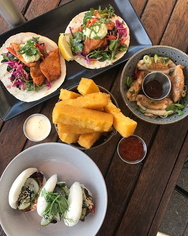 A couple of my lunch faves #fishtacos #bao #polentachips #dumplings