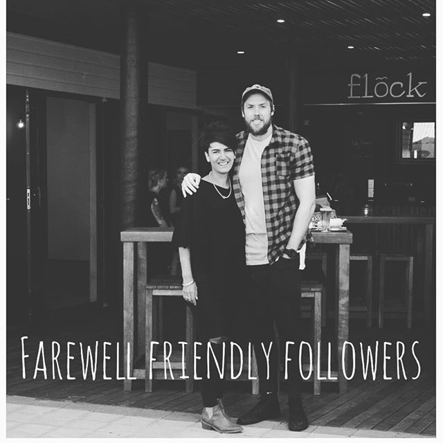 Rounding out our last few weeks at Flock we just want to thank each and every one of you who have contributed to the amazing time we have had over the last two years. As we move on from this adventure, to start our new adventure of raising a family. I'll miss your faces ♥️ We will be closing August 19 to ready the place for the new owners who will be taking over the following week. So come on in and introduce yourselves! #peaceout #theflockers ✌🏼