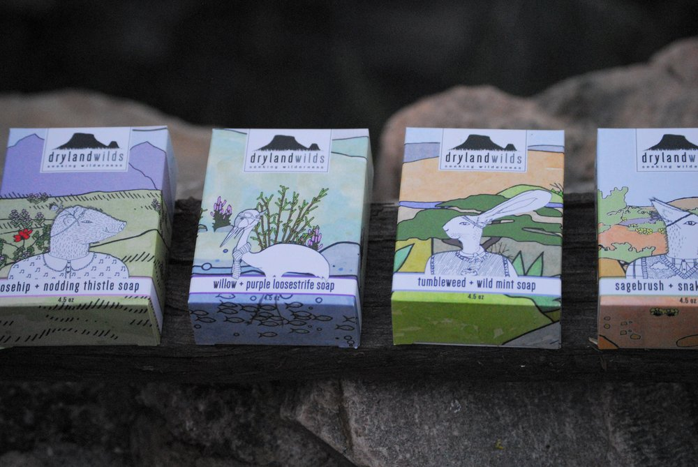 Our botanical soaps, made with local tallow.  A fat that would be otherwise thrown away is saponified into soap.