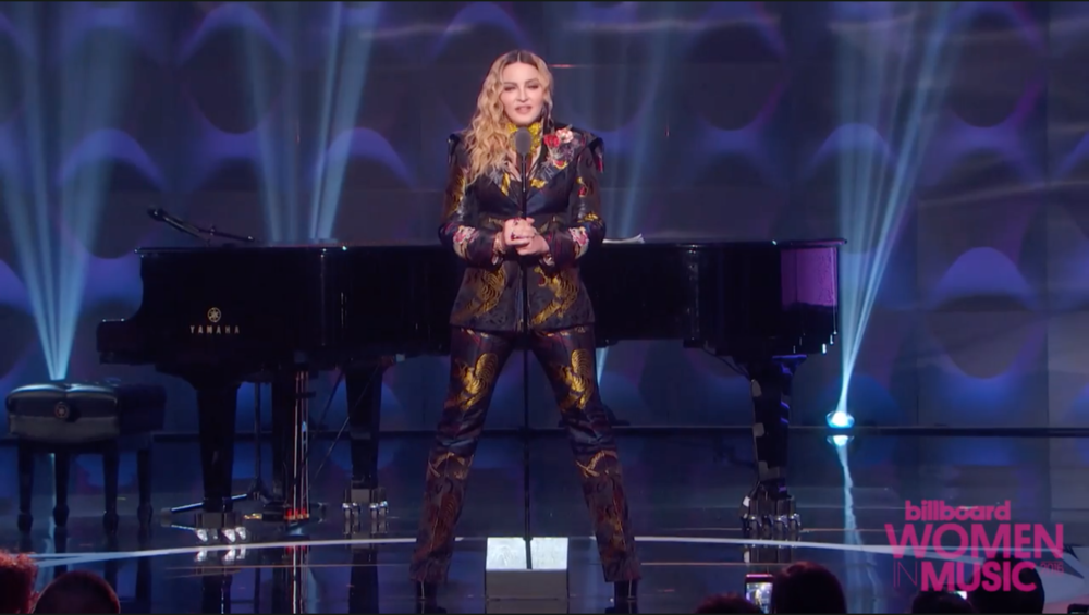 Madonna's powerful acceptance speech for Billboard's 2016 Woman of the Year Award. Click on the image for the full video at billboard.com.