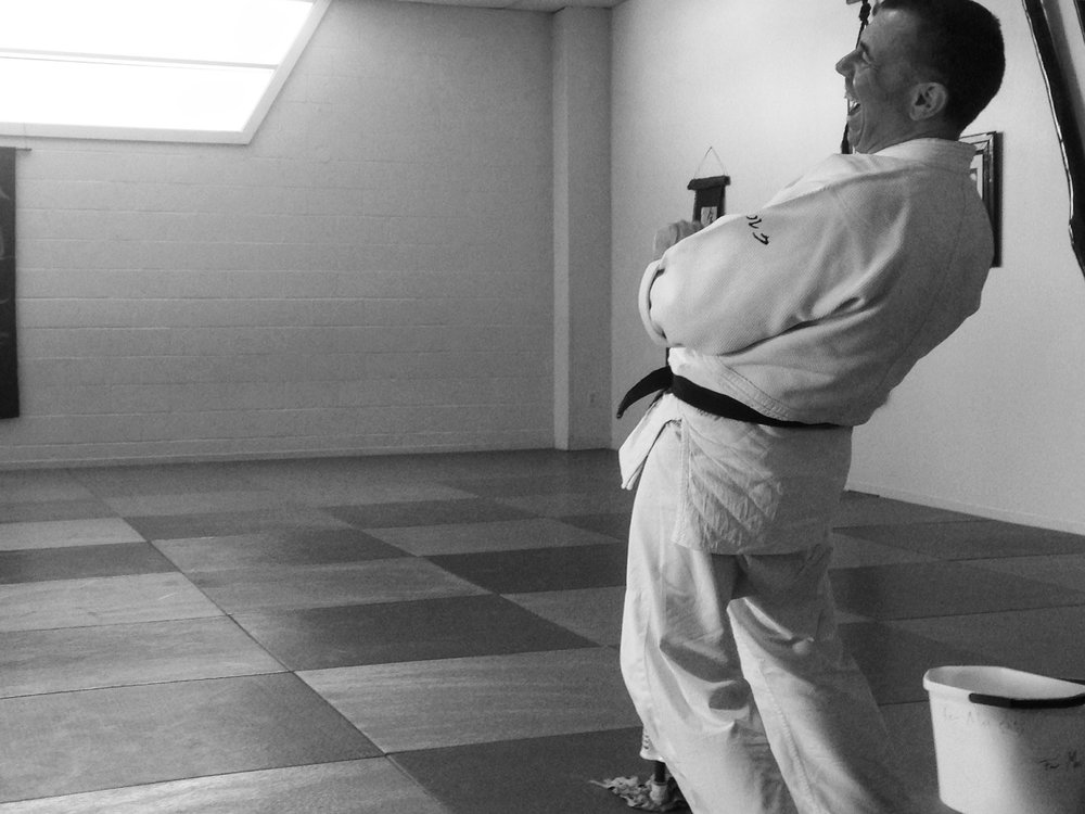 "This year, Julia started practicing Aikido, which loosely translated means ""the way of peace.""  Here is a photo taken from a recent Aikido seminar by Dirk Muëller Sensei at Nola Aikido, in which Julia learned about the importance lightness and softness in a martial arts setting."