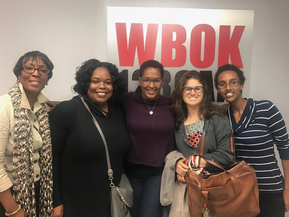 From left to right: Diane Bias, Jin Jeans Productions, Danielle Mitchell, Mitchell Marketing Group, Rachel Graham, WBOK host and founder of Small Hinges Communications firm, Julia and Weenta.
