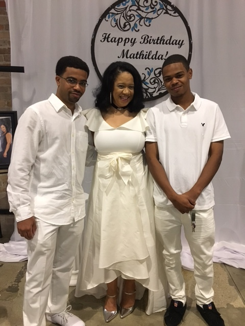 Lynnette with two of Mathilda's grandsons.