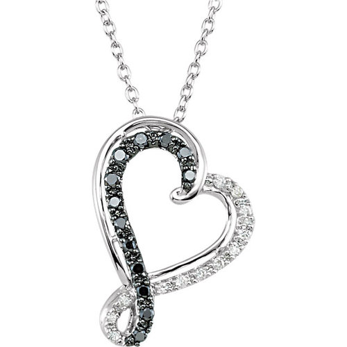 Black and white diamond heart necklace bella jule black and white diamond heart necklace aloadofball Images