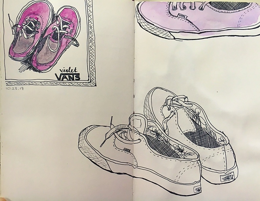 From 9/23/17, the day I committed to daily sketching. I've been sketching more, though not daily at this point. The lines are bolder. I like the wonkiness (again with the quirk). I remember resisting drawing this because I didn't know where to start and it seemed like it might be complicated with the shoe strings and all. I feel that resistance EVERY TIME I sit down to draw something. What is that? (I feel a blog post coming on!)
