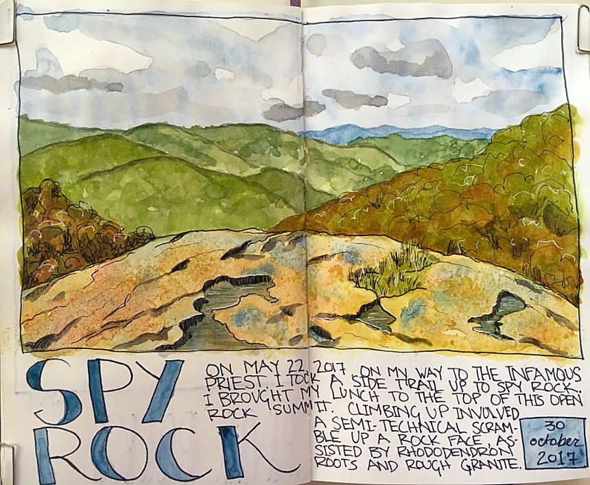 From 10/30/17. Ahhh...now we're getting somewhere. I'm practicing some of what I've learned in several different classes--the watercolor technique for the sky; creating rock textures; designing a page. I drew this from a photo I took during my Appalachian Trail hike. I still hesitate to go outside and draw from real life.