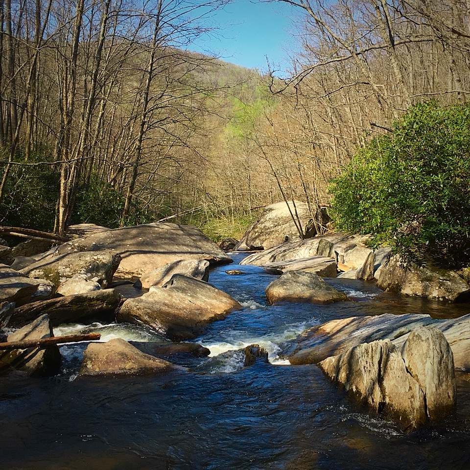 Boone Fork Creek picking its way through boulders, heading toward a long series of waterfalls.