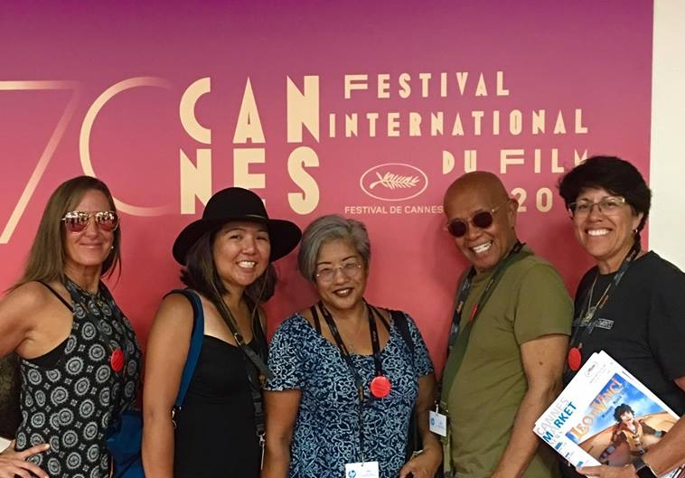 (right to left) Our Producer Connie M. Florez, our DT and 2nd Camera Cindy Iodice, our Script supervisor Katelind Ikuma   at 2017 CANNES FILM FESTIVAL as OFFICIAL SELECTIONS for their shorts THE BRIDGE and MY EYES ADORE YOU. Photo courtesy of Cindy Iodice.