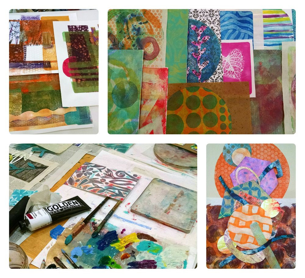 "Christine Sauer, ""Collage Explorations"" Workshop monoprints created on Gelli Plates"