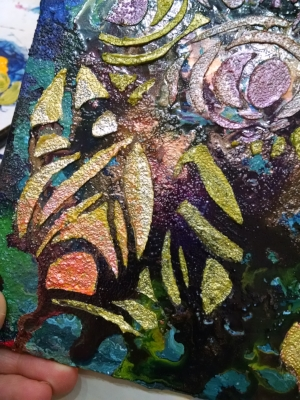 "©Christine Sauer, ""Night Flora"" in process, 10x8"", acrylic on canvas board"